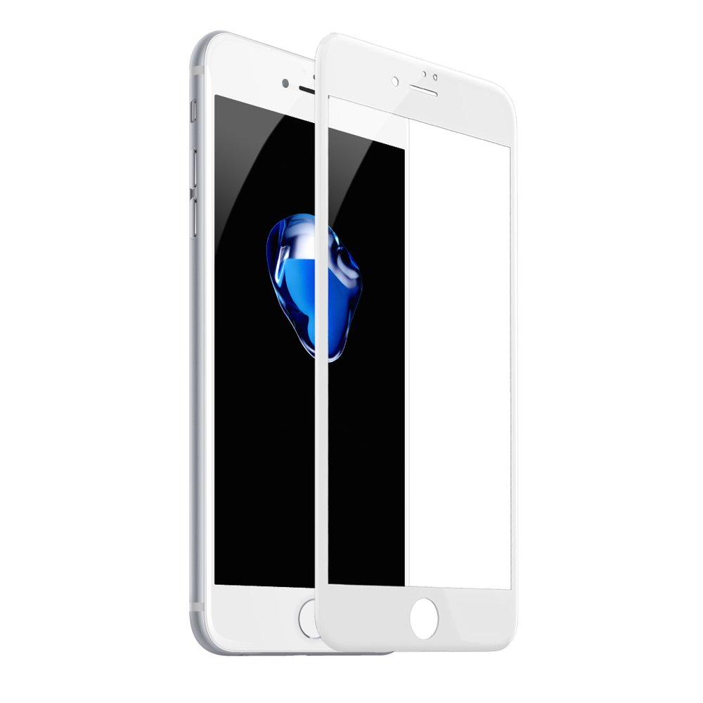 Baseus 0.2mm Silk-screen Tempered Glass White For iPhone 8 Plus