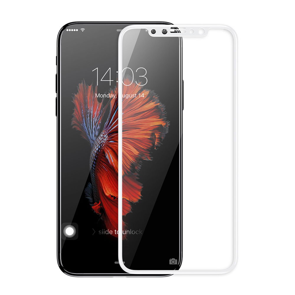 Baseus 0.2mm Silk-screen Tempered Glass White For iPhone X