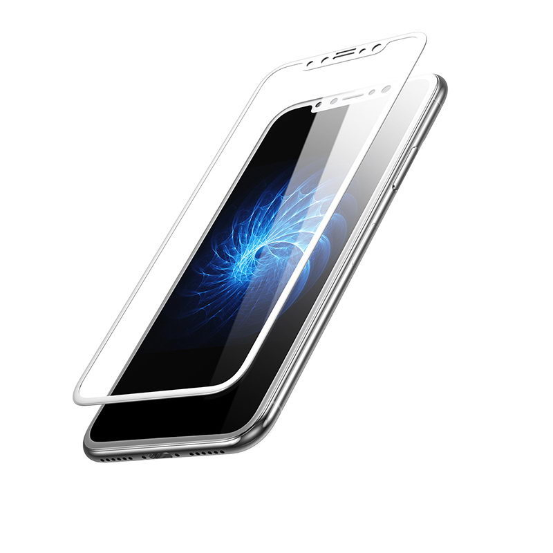 Baseus 0.3mm Silk-screen 3D Arc Tempered Glass White For iPhone X