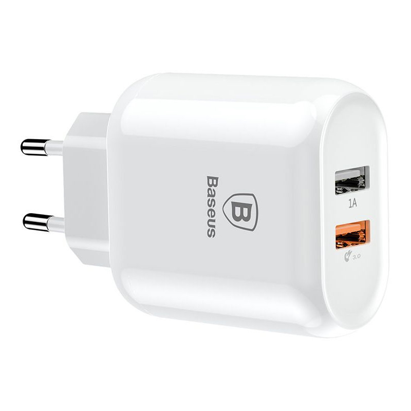 Baseus Bojure Series Dual-USB Quick Charge Charger for EU 23W White (CCALL-AG02)