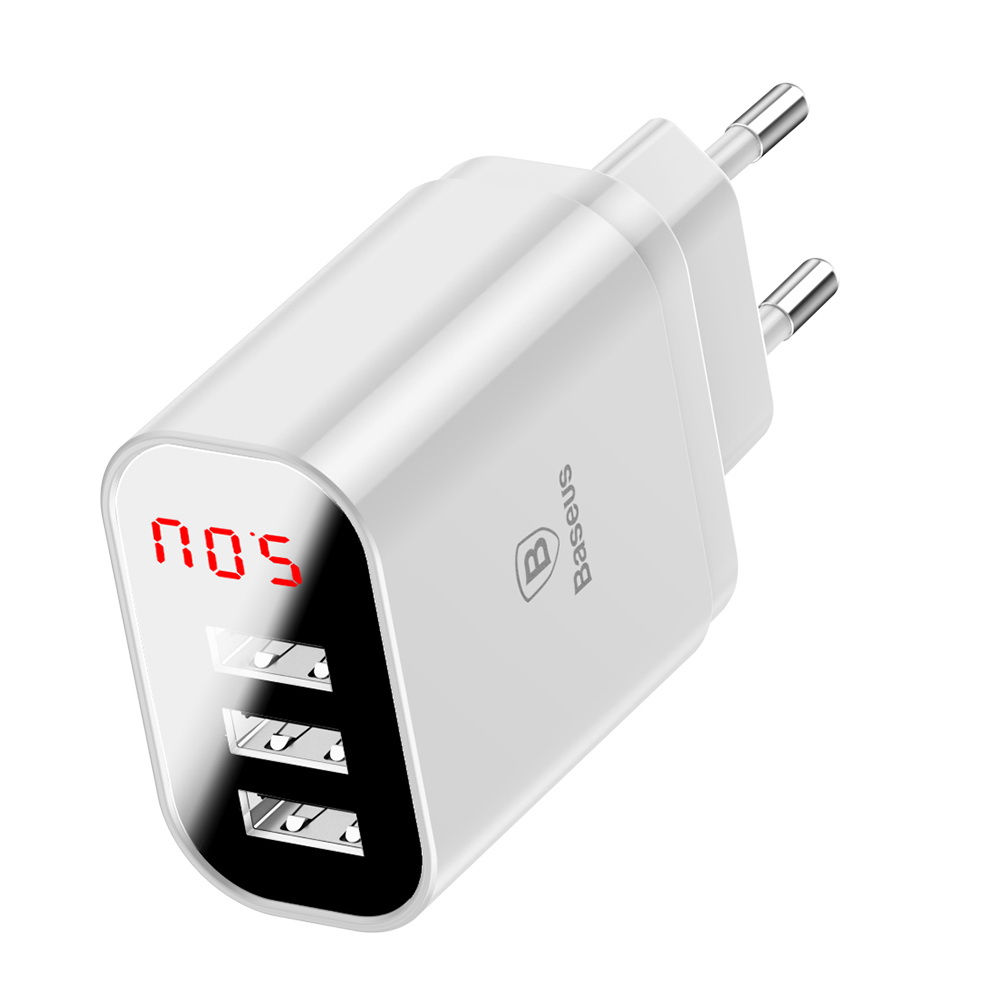 Baseus Mirror Lake Intelligent Digital Display 3USB Travel Charger 3.4A (EU) White (CCALL-BH02)