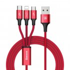 Baseus Rapid Series 3-in-1 Cable Micro+Lightning+Type-C 3A 1.2M Red (CAMLT-SU09)
