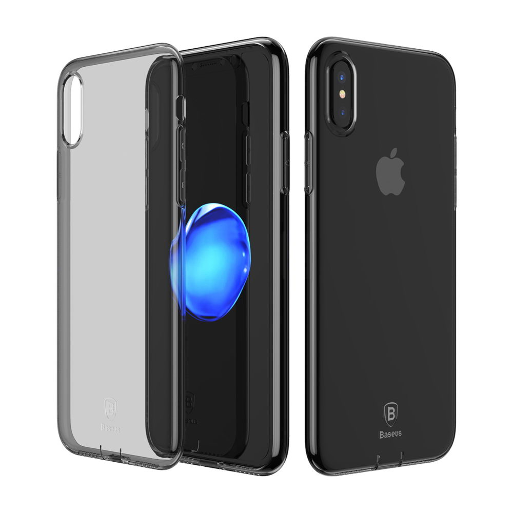Baseus Simple Series Case (With Pluggy TPU) Transparent Black for iPhone X/XS (ARAPIPHX-A01)