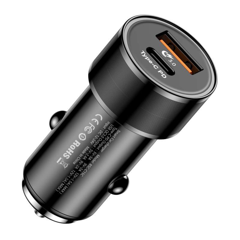 Baseus Small Screw Type-C PD+USB Quick Charge Car Charger 36W Black (CAXLD-A01)