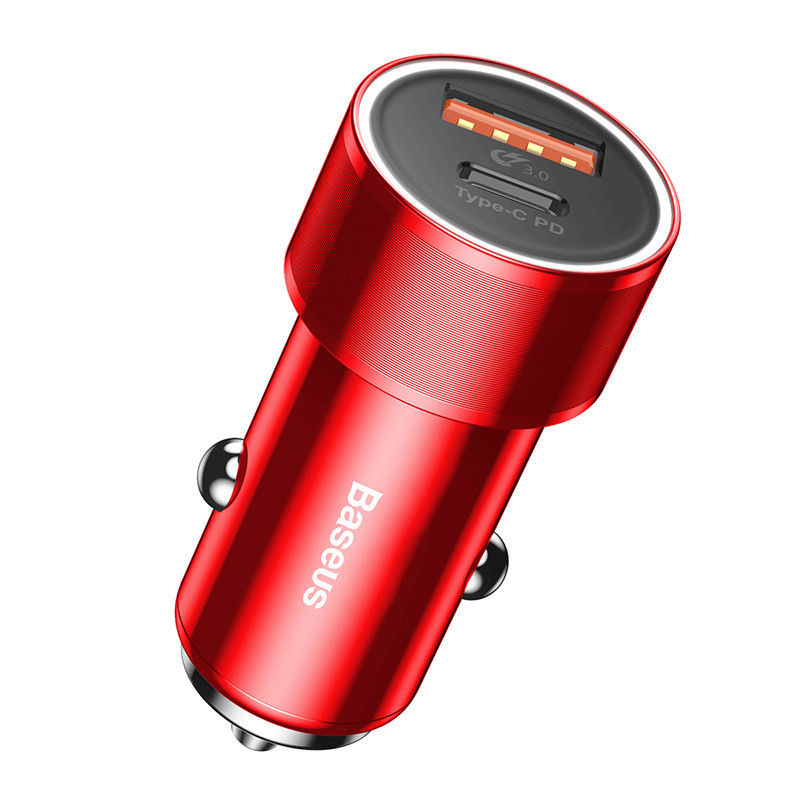Baseus Small Screw Type-C PD+USB Quick Charge Car Charger 36W Red (CAXLD-A09)