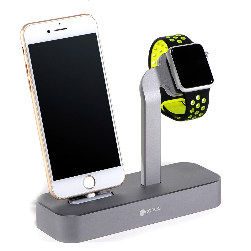 COTEetCI Base5 2-in-1 iPhone & Apple watch Stand Gray (CS2095-GY)