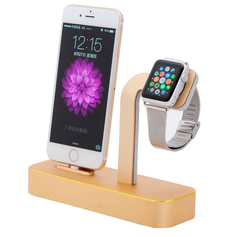 COTEetCI Base5 2-in-1 iPhone & Apple watch Stand Gold