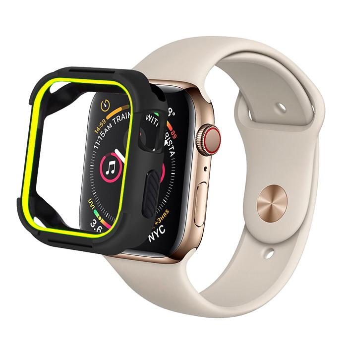 Coteetci PU+TPU Case For Apple Watch 4 40mm Black + Yellow (7051-BY)