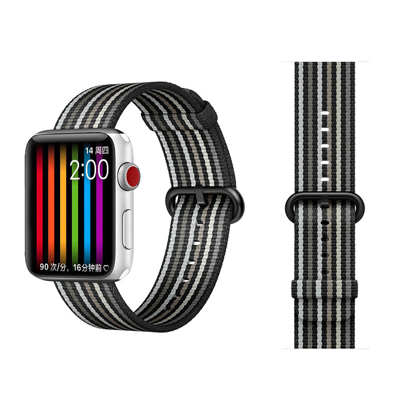 COTEetCI W30 Rainbow Nylon Band For Apple Watch 38mm Black-Grey (WH5250-BG)