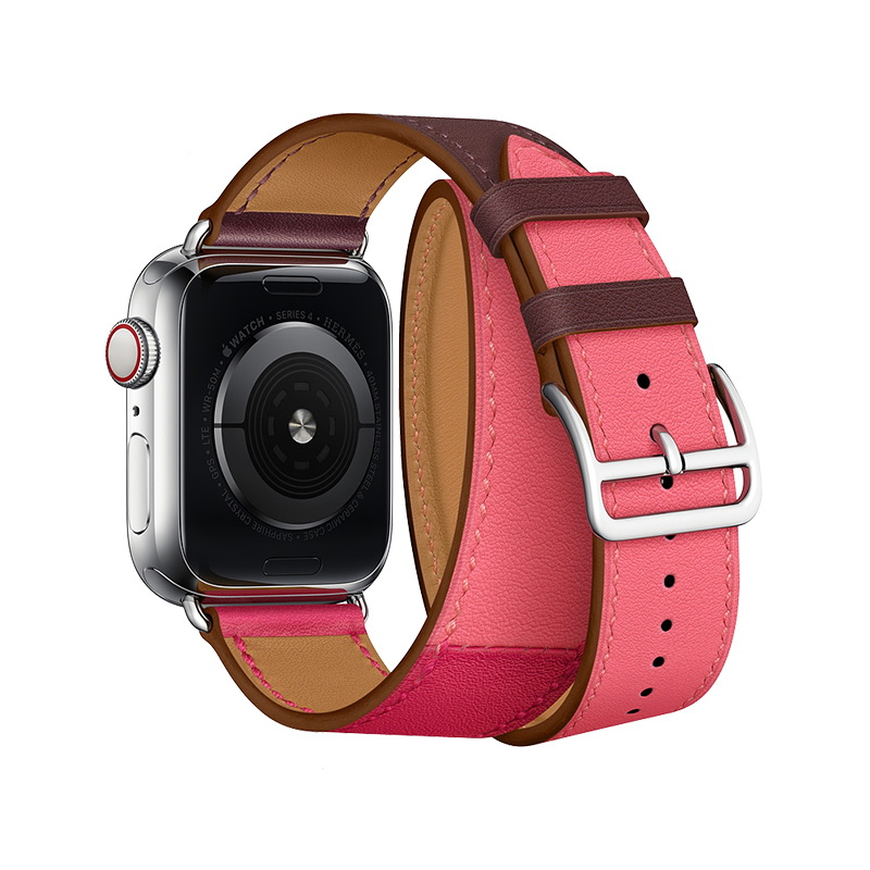 Coteetci W36 Long Fashion Leather Band For Apple Watch 42mm/44mm Bordeaux, Rose Extreme with Rose Azalee (WH5261-44-BRR)