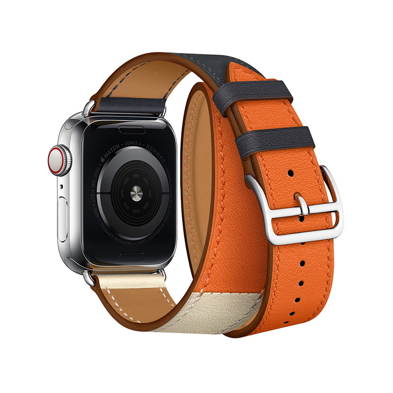 Coteetci W36 Long Fashion Leather Band For Apple Watch 42mm/44mm Indigo, Craie with Orange (WH5261-44-ICO)