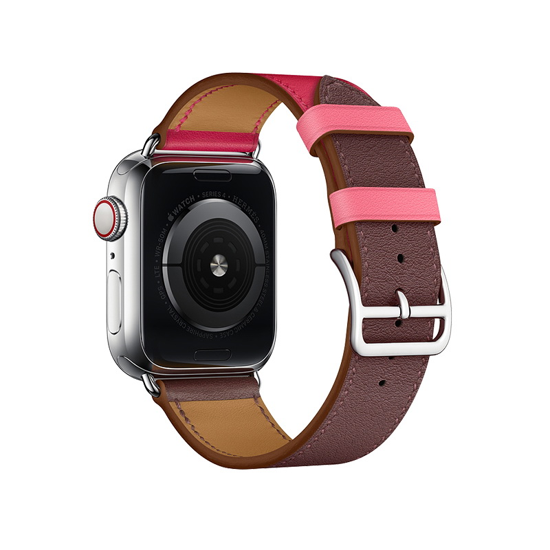 Coteetci W36 Short Fashion Leather Band For Apple Watch 38mm/40mm Bordeaux, Rose Extreme with Rose Azalee (WH5260-40-BRR)