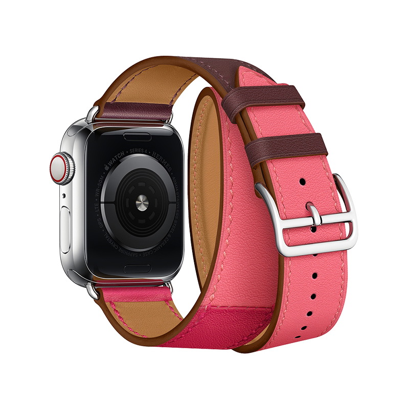 Coteetci W36 Long Fashion Leather Band For Apple Watch 38mm/40mm Bordeaux, Rose Extreme with Rose Azalee (WH5261-40-BRR)