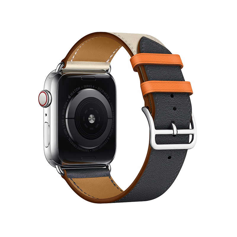 Coteetci W36 Short Fashion Leather Band For Apple Watch 42mm/44mm Indigo, Craie with Orange (WH5260-44-ICO)
