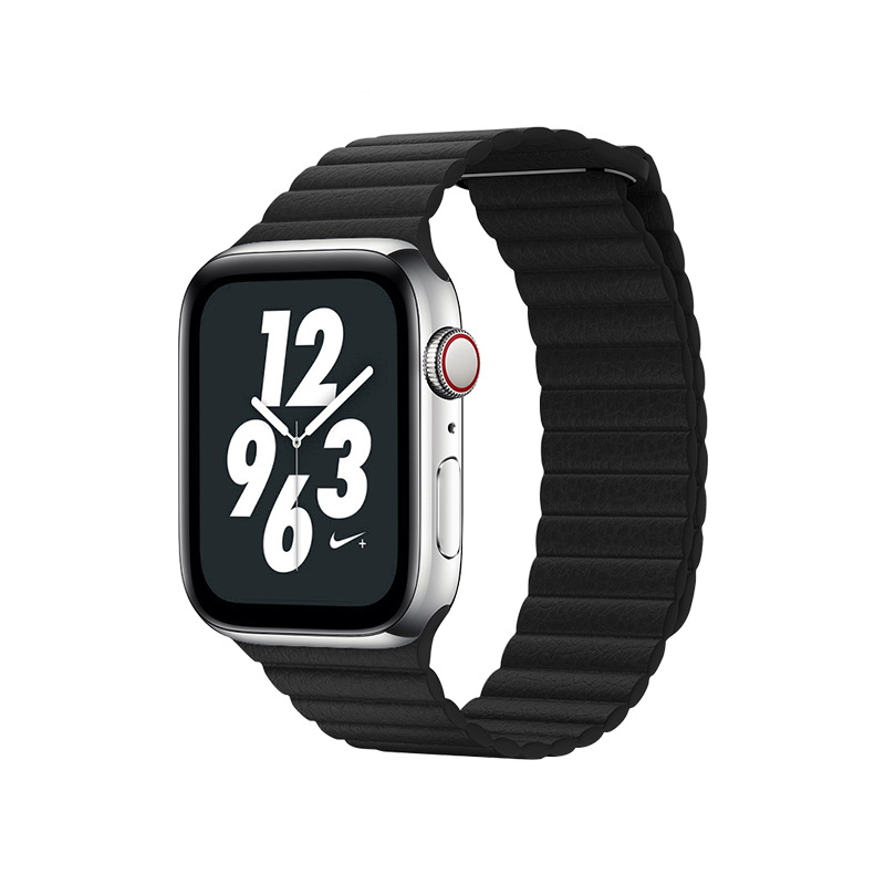 Coteetci W7 Leather Magnet Band For Apple Watch 42mm/44mm Black (WH5206-BK)