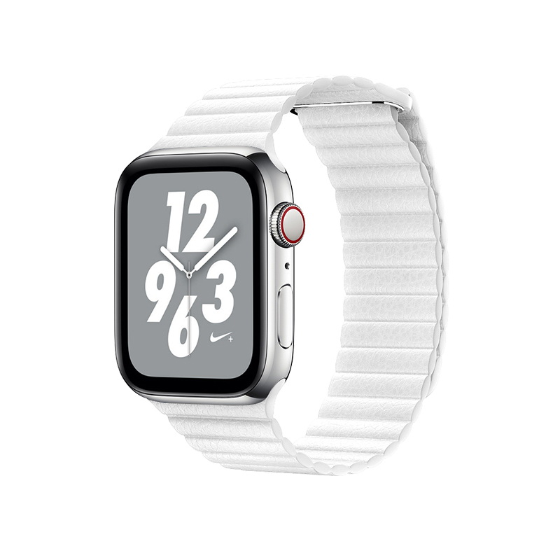 Coteetci W7 Leather Magnet Band For Apple Watch 42mm/44mm White (WH5206-WH)