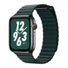 Coteetci W7 Leather Magnet Band For Apple Watch 42mm/44mm Green (WH5206-GR)