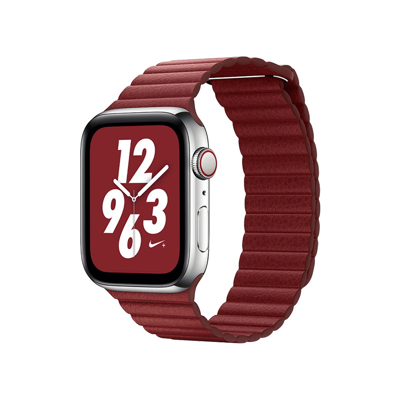 Coteetci W7 Leather Magnet Band For Apple Watch 42mm/44mm Red (WH5206-RD)