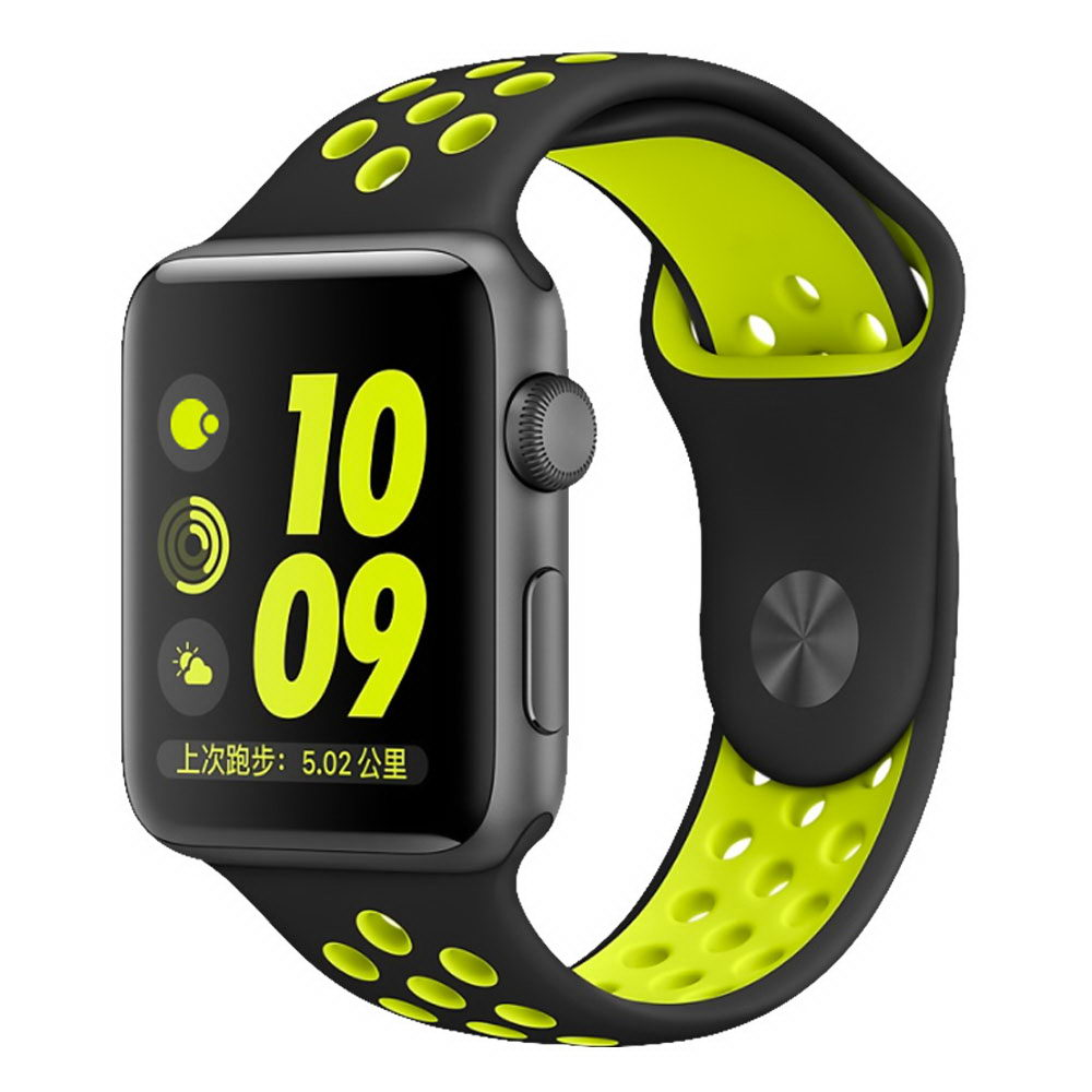 COTEetCI W12 Apple Watch Nike band 42mm Black/Yellow (WH5217-BK-YL)