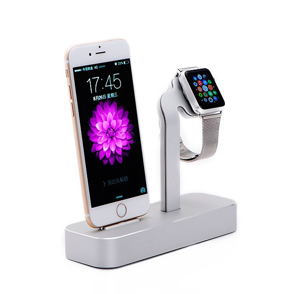COTEetCI Base5 2-in-1 iPhone & Apple Watch Stand Silver (CS2095-TS)