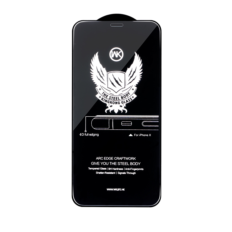 WK Kingkong 4D Curved Tempered Glass Black For iPhone 6/6S (WTP-010)